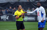 Referee Kader Zitouni talks to Lautoka's Osea Vakatalesau during the Oceania Football Championship final (first leg) football match between Team Wellington and Lautoka FC at David Farrington Park in Wellington, New Zealand on Sunday, 13 May 2018. Photo: Dave Lintott / lintottphoto.co.nz