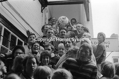 Royal Shrovetide Football. Ashbourne Derbyshire, England 1974. Annually Shrove Tuesday and Ash Wednesday.The lunch for dignitaries is over, the start of the game.