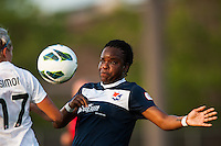 Sky Blue FC forward Danesha Adams (9) and Boston Breakers forward Kyah Simon (17). Sky Blue FC defeated the Boston Breakers 5-1 during a National Women's Soccer League (NWSL) match at Yurcak Field in Piscataway, NJ, on June 1, 2013.