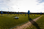 Southport players warming up. Darlington 1883 v Southport, National League North, 16th February 2019. The reborn Darlington 1883 share a ground with the town's Rugby Union club. <br />