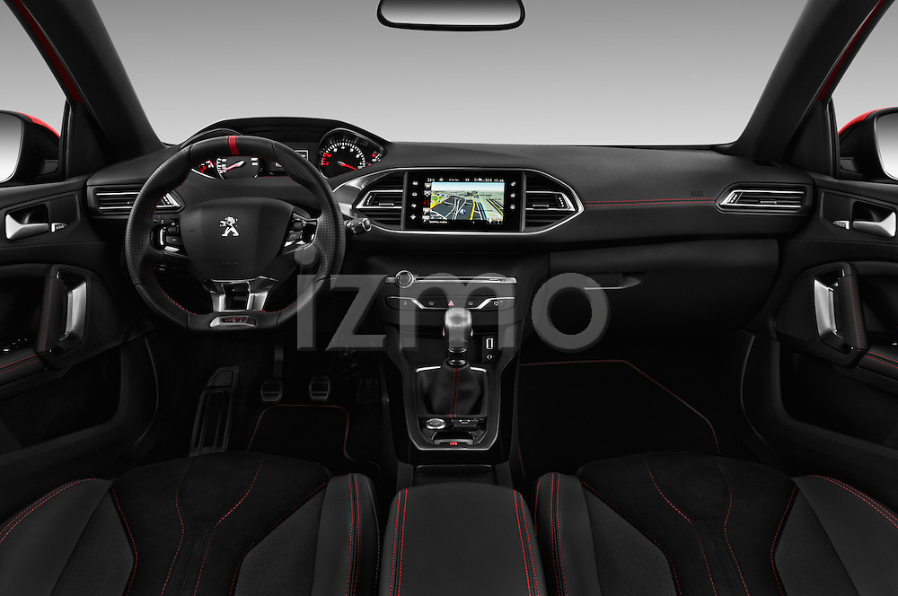 Stock photo of straight dashboard view of 2016 Peugeot 308 GTI 5 Door Hatchback Dashboard