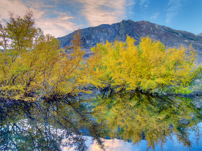 Beaver pond and fall color on McGee Creek. Eastern Sierra Nevada Mountains. California