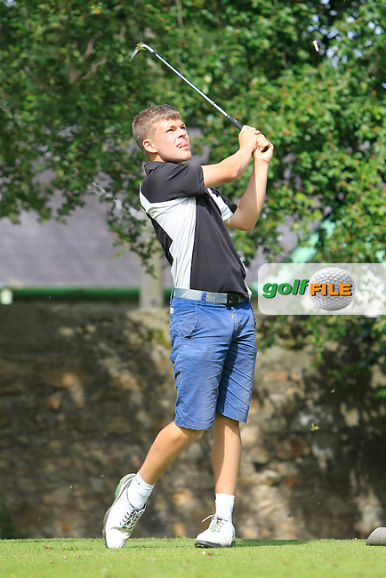 Conor Cowhey (Elm Park) on the 2nd tee during Round 1 of the Grange Dublin Boys on Monday 21th July 2014.<br /> Picture:  Thos Caffrey / www.golffile.ie