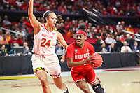 College Park, MD - March 23, 2019: Radford Highlanders guard Khiana Johnson (4) drives to the basket during game between Radford and Maryland at  Xfinity Center in College Park, MD.  (Photo by Elliott Brown/Media Images International)