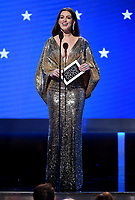 SANTA MONICA, CA - JANUARY 12: Anne Hathaway onstage at the 25th Annual Critics' Choice Awards at the Barker Hangar on January 12, 2020 in Santa Monica, California. (Photo by Frank Micelotta/PictureGroup)