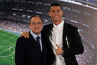 Cristiano Ronaldo and Real Madrid's president Florentino Perez during the renews of Cristiano Ronaldo's contract with Real Madrid until 2021 at Santiago Bernabeu Stadium in Madrid. November , 2016. (ALTERPHOTOS/Borja B.Hojas) ///NORTEPHOTO.COM
