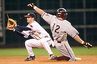 Houston shortstop Ryan Lormand (2) awaits the throw as Arizona State's Andrew Romine (12) steals second base at the 2007 Houston College Classic at Minute Maid Park in Houston, TX, Sunday, February 11, 2007.  The Sun Devils  defeated the Cougars 11-1.