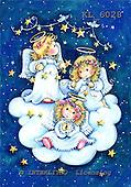 Interlitho, CHRISTMAS CHILDREN, WEIHNACHTEN KINDER, NAVIDAD NIÑOS, paintings+++++,3 angels,cloud, birds,KL6028,#xk#
