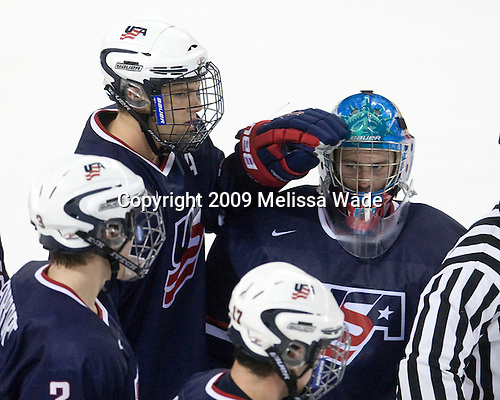 Jon Merrill (US - 15), Andy Iles (US - 29) - The Boston College Eagles defeated USA Hockey's National Team Development Program's Under 18 team 6-3 on Friday, October 9, 2009 at Conte Forum in Chestnut Hill, Massachusetts.