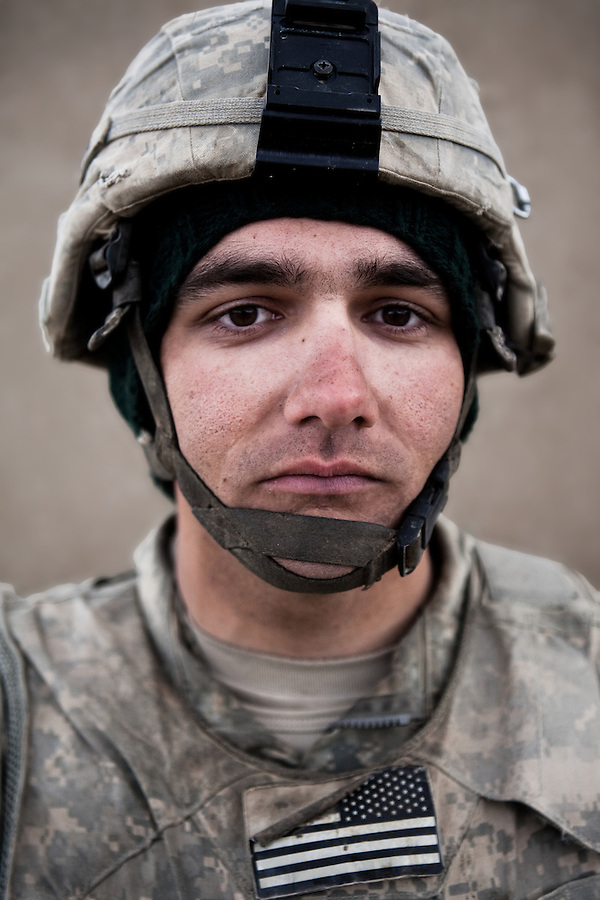 PFC Justin Davis. New Brighton, Pennsylvania. 22. Charlie Co. 1st Battalion 12th Infantry Regiment, 4th Infantry Division. Photographed at Combat Outpost JFM in Zhari District, Kandahar, Afghanistan.