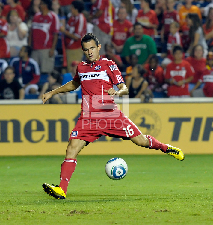 Chicago midfielder Marco Pappa (16) takes a shot.  The Chicago Fire tied the New York Red Bulls 0-0 at Toyota Park in Bridgeview, IL on August 8, 2010