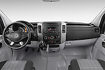 Stock photo of straight dashboard view of a 2014 Mercedes Benz Sprinter 319 Bluetec Extra Long High roof 4 Door Cargo Van 2WD Dashboard