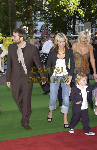 "LIAM GALLAGHER, NICOLE APPLETON, GENE GALLAGHER & KATE THORNTON.Arrivals at charity premiere of ""Shrek 2"".at Empire cinema, Leicester Square,.London, 28 June 2004..full length child son turned up jeans black pinstripe jacket white vest top belt .Ref: PL.www.capitalpictures.com.sales@capitalpictures.com.©Capital Pictures"