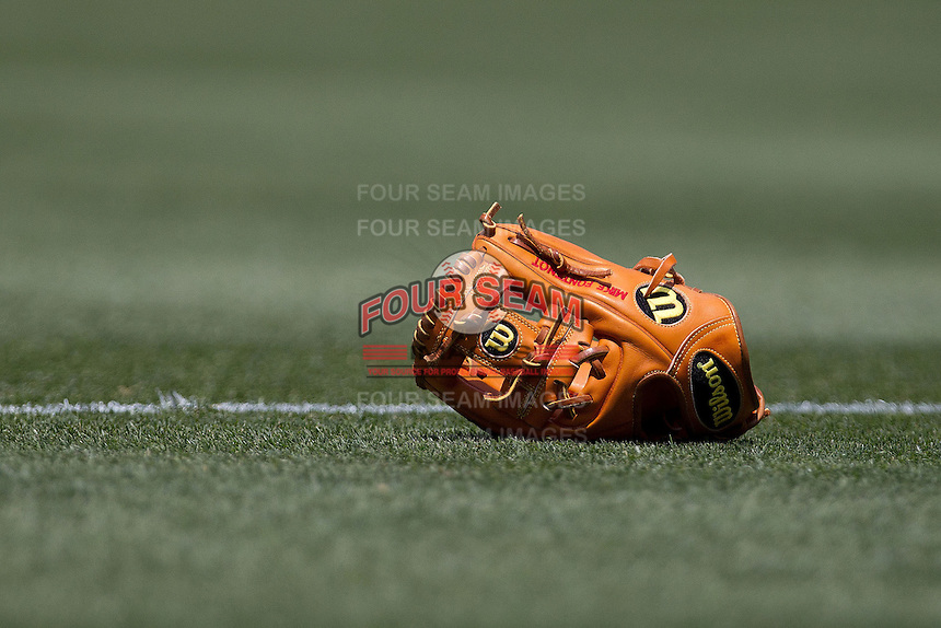 Philadelphia Phillies Mike Fontenot baseball glove on June 28, 2012 at Citizens Bank Park in Philadelphia, Pennsylvania. The Pirates defeated the Phillies 5-4. (Andrew Woolley/Four Seam Images).