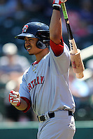 Portland Sea Dogs center fielder Mookie Betts (7) during a game versus the New Hampshire Fisher Cats at Northeast Delta Dental Stadium in Manchester, New Hampshire on May 25, 2014. (Ken Babbitt/Four Seam Images)