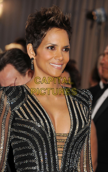Halle Berry.85th Annual Academy Awards held at the Dolby Theatre at Hollywood & Highland Center, Hollywood, California, USA..February 24th, 2013.oscars half length black gold silver striped stripes dress long sleeves cleavage.CAP/ROT/TM.©Tony Michaels/Roth Stock/Capital Pictures