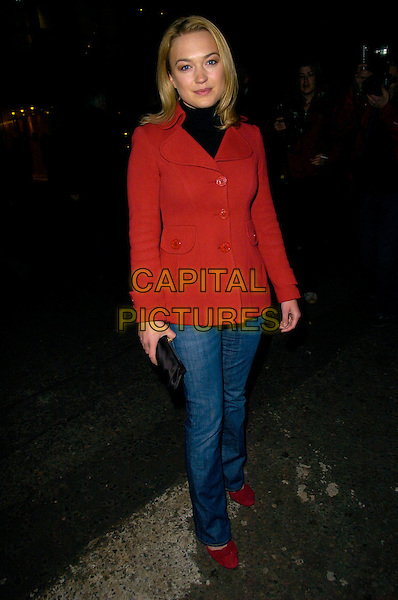 "SOPHIA MYLES .The ""Dr. Who"" series 3 TV premiere, Mayfair Hotel, London, UK..March 21st, 2007.doctor full length red jacket jeans denim .CAP/CAN.©Can Nguyen/Capital Pictures"