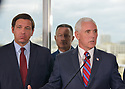 FORT LAUDERDALE, FLORIDA - MARCH 07: Florida Governor Ron DeSantis (R-FL), U.S. Coast Guard Admiral Eric Jones and U.S. Vice President Mike Pence stand together during a press conference after participating in a discussion held at Port Everglades Administration Building about possible coronavirus (COVID-19) issues that the cruise line company leaders are experiencing on Saturday on March 07, 2020 in Fort Lauderdale, Florida. U.S. Vice President Pence and the coronavirus task force are heading up the efforts to combat the virus in the United States.  ( Photo by Johnny Louis / jlnphotography.com )