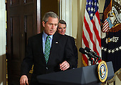 United States President George W. Bush names US Representative Rob Portman (Republican of Ohio) as his nominee for U.S. Trade Representative in the Roosevelt Room of the White House on March 17, 2005.   <br /> Credit: Roger Wollenberg - Pool via CNP