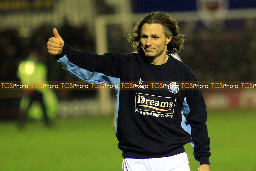 Wycombe Player/Manager Gareth Ainsworth acknowledges the fans at the end of the match - AFC Wimbledon vs Wycombe Wanderers - NPower League Two Football at The Cherry Red Records Stadium, Kingston-upon-Thames, Surrey - 12/01/13 - MANDATORY CREDIT: Paul Dennis/TGSPHOTO - Self billing applies where appropriate - 0845 094 6026 - contact@tgsphoto.co.uk - NO UNPAID USE.