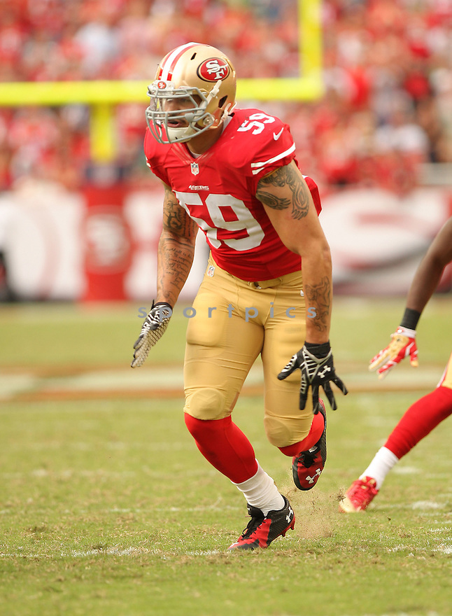 San Francisco 49ers Aaron Lynch (59) during a game against the Philadelphia Eagles on September 28, 2014 at Levi's Stadium in Santa Clara, CA. The 49ers beat the Eagles 26-21.