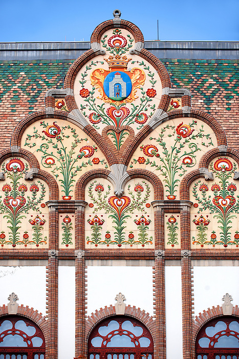 Art Nouveau (szecessziós Stilus) style town hall (1912) with Zolnay ceramic tiles , Kiskunfélegyháza, Southern Hungary