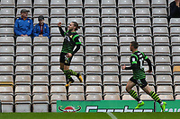 Alfie May of Doncaster Rovers celebrates scoring during the Carabao Cup match between Bradford City and Doncaster Rovers at the Northern Commercial Stadium, Bradford, England on 8 August 2017. Photo by Thomas Gadd.