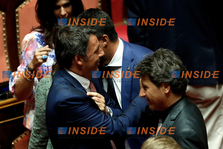 Minister of Internal Affairs Matteo Salvini and former Secretary of Democratic Party Matteo Renzi<br /> Rome August 13th 2019. Senate. Vote to allow  ore deny the Motion of no confidence to the Italian Government proposed by the Lega Nord party. <br /> Foto Samantha Zucchi Insidefoto