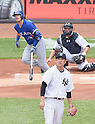 Masahiro Tanaka (Yankees),<br /> AUGUST 9, 2015 - MLB :<br /> Pitcher Masahiro Tanaka of the New York Yankees reacts after giving up a home run to Josh Donaldson of the Toronto Blue Jays in the first inning during the Major League Baseball game at Yankee Stadium in the Bronx, New York, United States. (Photo by AFLO)