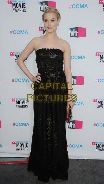 Evan Rachel Wood.17th Annual Critics Choice Movie Awards held at the Hollywood Palladium, Los Angeles, California, USA..January 12th, 2012.full length strapless black lace patterned dress hand on hip maxi.CAP/ROT/TM.©Tony Michaels/Roth Stock/Capital Pictures