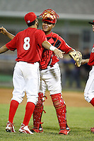 June 19, 2009:  Catcher Ivan Castro of the Batavia Muckdogs chest bumps Niko Vasquez after a win at Dwyer Stadium in Batavia, NY.  The Muckdogs are the NY-Penn League Short-Season Class-A affiliate of the St. Louis Cardinals.  Photo by:  Mike Janes/Four Seam Images