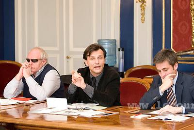 Genève, le 10.11.2008.CP sur le cycle d'orientation..Charles Beer et françois longchamp et david hiller.© Le Courrier / J.-P. Di Silvestro
