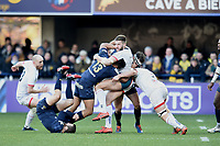 11th January 2020, Parc des Sports Marcel Michelin, Clermont-Ferrand, Auvergne-Rhône-Alpes, France; European Champions Cup Rugby Union, ASM Clermont versus Ulster;  Isaia Toeava (asm) heavy tackle with Stuart McCloskey (ulster)