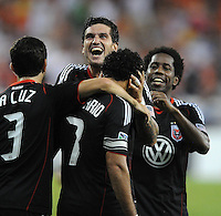 DC United forward Dwayne De Rosario (7) celebrates with teammates his score in the 64th minute of the game. DC United tied Toronto FC 3-3 at RFK Stadium, Saturday August 6 , 2011.