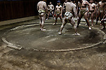 Tokyo, March 31 2013 - Training at an amateur sumo club in the Asakusa area.