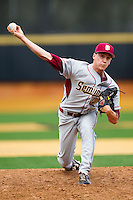 Florida State Seminoles relief pitcher Robert Benincasa #22 of the Florida State Seminoles in action against the Wake Forest Demon Deacons in the completion of the suspended game from March 23rd at Wake Forest Baseball Park on March 24, 2012 in Winston-Salem, North Carolina.  The Seminoles defeated the Demon Deacons 5-4 in 11 innings.  (Brian Westerholt/Four Seam Images)