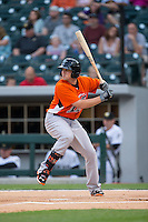 Chris Parmalee (41) of the Norfolk Tides at bat against the Charlotte Knights at BB&T BallPark on April 9, 2015 in Charlotte, North Carolina.  The Knights defeated the Tides 6-3.   (Brian Westerholt/Four Seam Images)