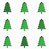 Rows of paper cut effect Christmas trees