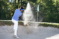 CHAPEL HILL, NC - OCTOBER 11: Gina Kim of Duke University hits out of a sand trap at UNC Finley Golf Course on October 11, 2019 in Chapel Hill, North Carolina.