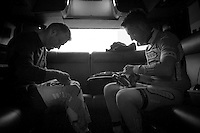 in the back of the teambus Frederik Veuchelen (BEL/Wanty-GroupeGobert) & Tim De Troyer (BEL/Wanty-GroupeGobert) get ready to race<br /> <br /> Paris - Roubaux 2014
