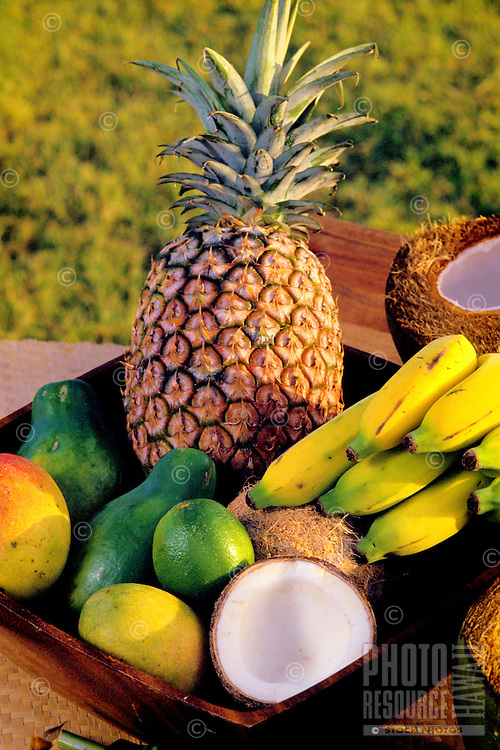 Island fruits: pineapple, banana, coconut, avocado, papaya and mango