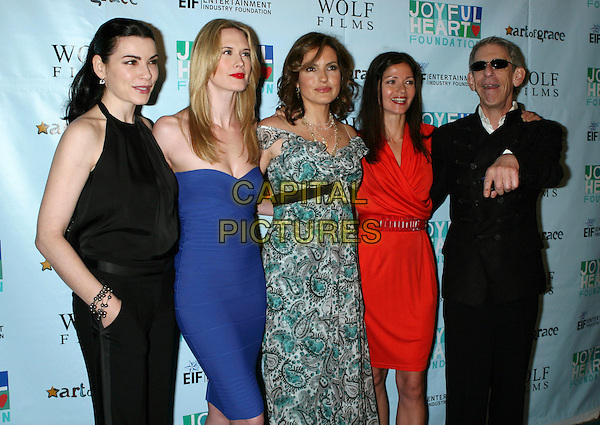 JULIANNA MARGULIES, STEPHANIE MARCH, MARISKA HARGITAY, JILL HENNESSY & RICHARD BELZER.The Joyful Revolution: An evening benefitting The Joyful Heart Foundation held at Terminal 5, New York, NY, USA..May 5th, 2009.half 3/4 length black trousers halterneck top hand in  pocket blue strapless grey gray green paisley pattern off the shoulder red orange wrap belt suit jacket hand sunglasses shades .CAP/LNC/TOM.©TOM/LNC/Capital Pictures.