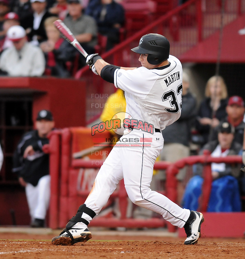 First baseman Kyle Martin (33) of the South Carolina Gamecocks in a game against the Clemson Tigers on March 3, 2012, at Carolina Stadium in Columbia, South Carolina. South Carolina won, 9-6. (Tom Priddy/Four Seam Images)
