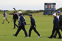 Rory McIlroy (NIR) and his dad Gerry McIlroy (AM) on the 15th during Round 4 of the Alfred Dunhill Links Championship 2019 at St. Andrews Golf CLub, Fife, Scotland. 29/09/2019.<br /> Picture Thos Caffrey / Golffile.ie<br /> <br /> All photo usage must carry mandatory copyright credit (© Golffile | Thos Caffrey)
