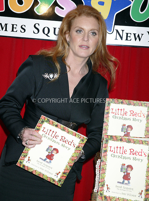 WWW.ACEPIXS.COM . . . . .  ....NEW YORK, NOVEMBER 23, 2004....Sarah Ferguson, Duchess of York, at Toy R Us in Times Square signing her new book, Little Red's Christmas Story.....Please byline: Ian Wingfield - ACE PICTURES..... *** ***..Ace Pictures, Inc:  ..Alecsey Boldeskul (646) 267-6913 ..Philip Vaughan (646) 769-0430..e-mail: info@acepixs.com..web: http://www.acepixs.com