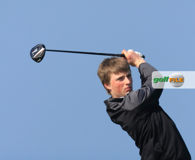 Ronan O'Callaghan (Mannan Castle) during Round 1 of the 54 hole Stroke Play on April 10th  2015 for the 2015 Munster Youths' Open Championship, Tralee Golf Club, Tralee, Co.Kerry Ireland.<br /> Picture: Thos Caffrey / Golffile