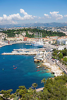 France, Provence-Alpes-Côte d'Azur, Nice: at foreground Port Lympia | Frankreich, Provence-Alpes-Côte d'Azur, Nizza: im Vordergrund der Hafen Port Lympia