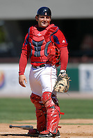 Catcher Mike McKenry #5 of the Pawtucket Red Sox during a game versus the Syracuse Chiefs on April 21, 2011 at McCoy Stadium in Pawtucket, Rhode Island. Photo by Ken Babbitt /Four Seam Images