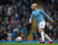 26th January 2020; Etihad Stadium, Manchester, Lancashire, England; English FA Cup Football, Manchester City versus Fulham; Angelino of Manchester City looks up after controlling the ball