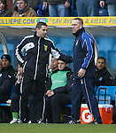 Fourth official Andrew Dallas with Kenny Shiels as Manuel Pascali gets sent off.